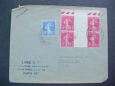 France: Paris 1937 Gutter Pair Block of 4 Cover to Bluenose Stamp Ship in Maine