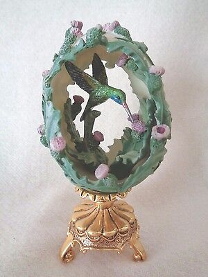 House of Faberge Hummingbird Jewel In The Garden Egg With Stand Beauty Fran Mint