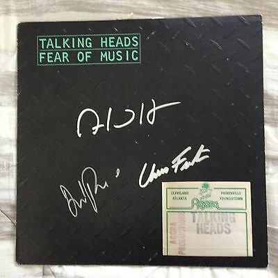 Talking Heads Autographed Signed LP  Fear Of Music Back Stage Pass Guarantee