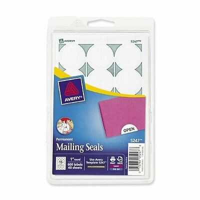 """Avery Mailing Seal - 1"""" - 600 / Pack - White (AVE05247)"""