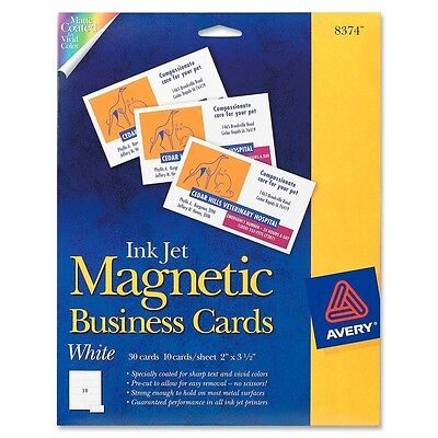 """Avery Business Card - 2"""" X 3.50"""" - Matte - 30 / Pack - White (AVE8374)"""