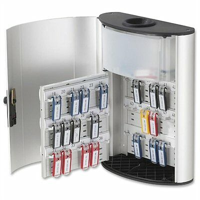 "Durable Key Cabinet - 11.8"" X 4.6"" X 15.5"" - Aluminum - Lockable - Silver"