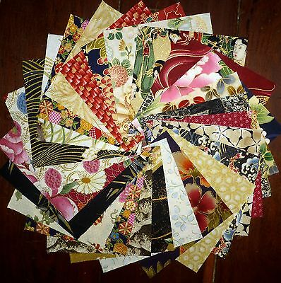 25 Japanese Oriental Metallic Featured Quilting Fabric 5 inch squares #12a