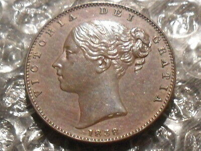 1838 Victoria farthing - good grade.