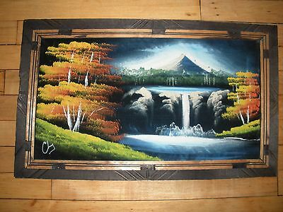 black velvet painting landscape waterfall mountains western Mexico signed NICE