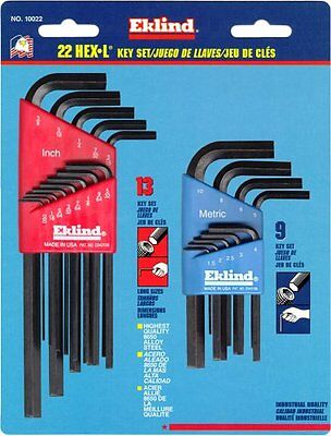 Eklind Tool Company 10022 22 Piece Combination Short And Long Hex-l Hex Key Sets
