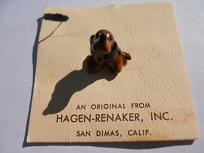 RETIRED - Hagen Renaker Seated Miniature Hound # 473