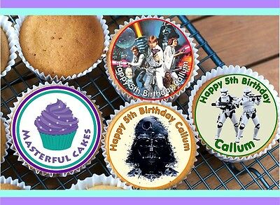 24 Personalised Starwars  Cupcake Topper Rice, Wafer, Icing Or Precut Wafer