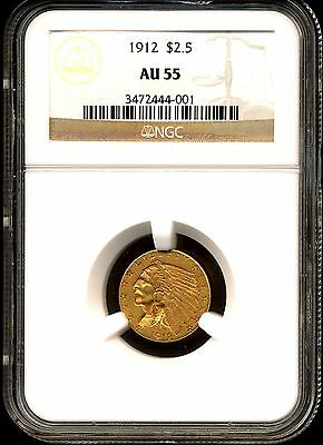 1912 G$2.5 Indian Head Gold Quarter Eagle AU55 NGC 3472444-001