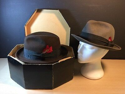 Pair of 50s-60's Cordova Trilby Fedora By Bardsley Canada 7 Gray and Brown W/Box