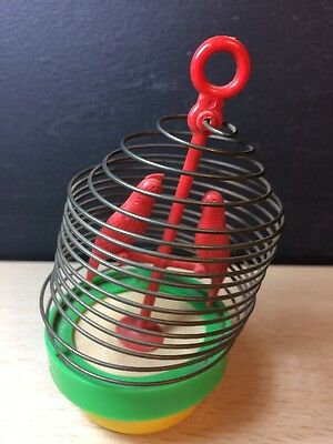 Perokee bird in metal cage squeaky toy USA push pull noisemaker 50-60's Vintage