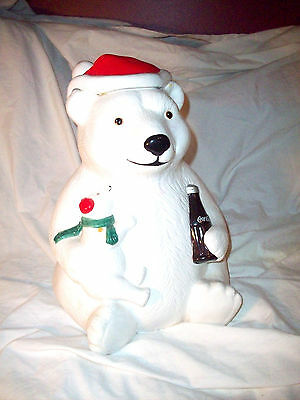 1998 Teleflora Coca-Cola Polar Bear And Baby Cookie Jar W/ Lid Great Condition!