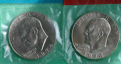 1974 P and D Eisenhower One Dollar Coins from US Mint Set BU Cellos TWO IKE $1