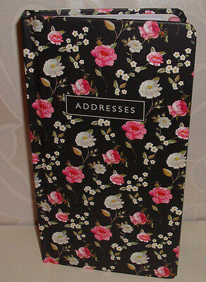 HB ADDRESS BOOK&PENCIL(PINK RUBBER) BLACK with ROSE & DITSY FLOWERS - ROSA