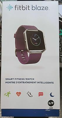 Brand New Fitbit Blaze Fitness Stainless Steel Watch Tracker Plum Color Small