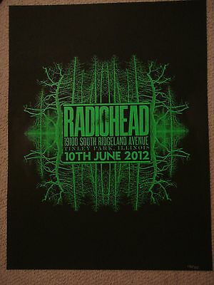 Radiohead Concert Gig Poster Tinley Park Chicago Il Poster 6/10/12 Limited