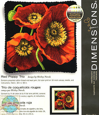 #71-20073 Dimensions Red Poppy Trio Pillow Picture Needlepoint Kit Nip