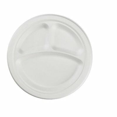 "Boardwalk 18163 Champware Heavyweight Bagasse Dinnerware, 3-c Plate, 10"", White,"