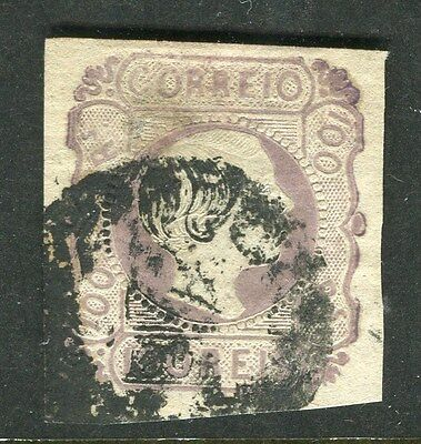 PORTUGAL;  1855-7 early classic Pedro Imperf issue fine used 100r. value