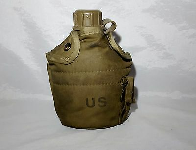US Military Army Green One Quart Plastic Canteen with Insulated Cover Jacket