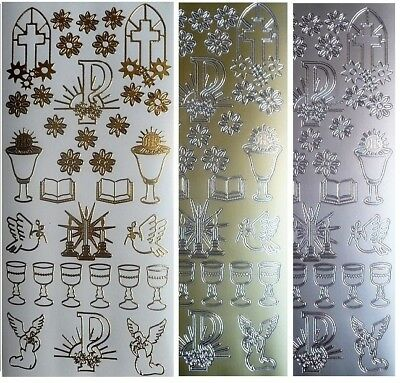 RELIGION Peel Off Stickers Holy Communion Bible Dove Angels Gold or Silver