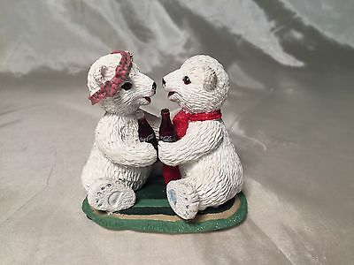 """Coca-Cola Coke Polar Bear Cubs """"There'is Nothing Like a Friend"""" Figurine #72017"""