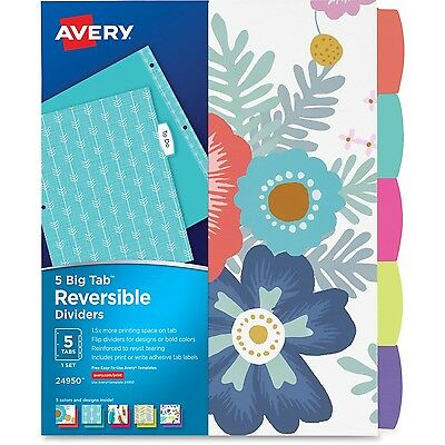 Avery Big Tab Reversible Fashion Dividers 24950, 5 Tabs, 1 Set, Assorted Designs