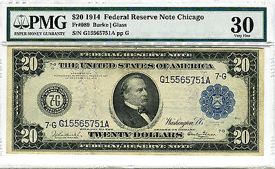 1914 $20 FRN Cleveland HIGH GRADE Transportation Chicago FR-989 VF30 comments