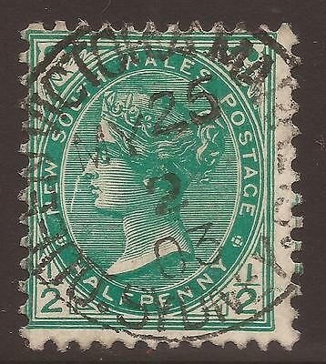 AUSTRALIA / NEW SOUTH WALES. QV. POSTMARK QUEEN VICTORIA MARKET. ½d GREEN. USED.