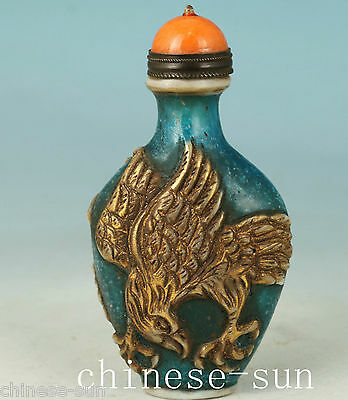 rare Chinese Glass Handmade Carved Eagle Collect Statue Snuff Bottle