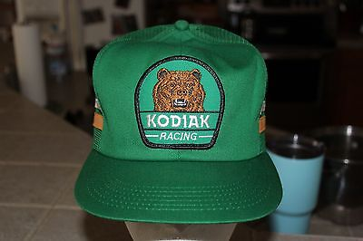 Rare Vintage Kodiak Racing Hat, Grizzly Bear Patch, Snapback Mesh Trucker Cap