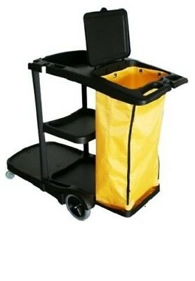 Cleanmax™ Black Janitors Cart With Yellow Bag