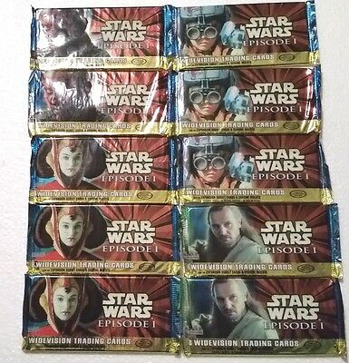1999 Topps Star Wars Episode 1 Widevison Lot Of (10) Unopened Trading Card Packs