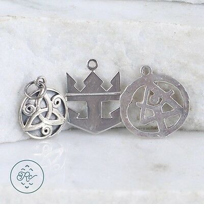 Sterling Silver | (QTY 3) Assorted Charm Pendants 5.7g | Lot MU3903