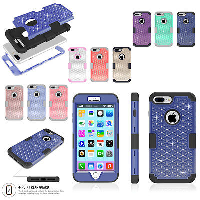 For iPhone 7 Plus Heavy Duty Rugged Defender Shockproof Diamond Hard Case Cover
