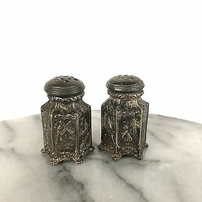 Antique WB Mfg Co Salt & Pepper Shakers with Dutch Girl Windmill Scenes