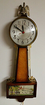 Vintage Sessions BANJO MOUNT VERNON ELECTRIC WALL CLOCK Working / Good Condition