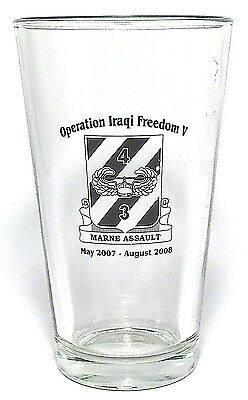 Operation Iraqi Freedom Pint Glass Tumbler V Marne Assault May 2007 August 2008