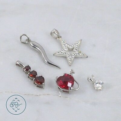 Sterling Silver | (QTY 5) Assorted Pendants Garnet Ruby Diamond Accent 7g | Lot