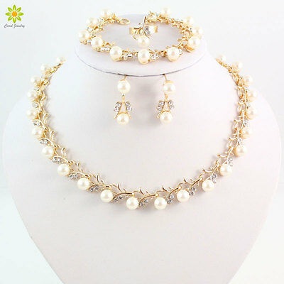 Fashion Women Jewelry Sets Wedding Bridal Pearl Crystal Necklace Earrings Sets