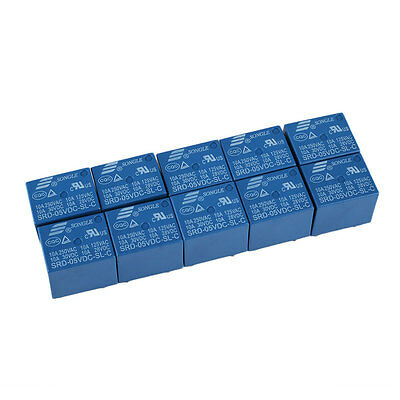 10pcs SRD-05VDC-SL-C PCB SONGLE DC 5V Mini Power Relay SRD-5VDC-SL-C Blue