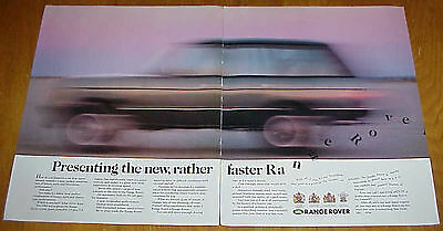 """1988 Range Rover Classic """"The New, Rather Faster"""" Blurred Car 2 Page Ad #032217"""
