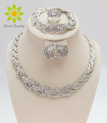 New Fashion Silver Plated African Wedding Clear Crystal Necklace Jewelry Sets