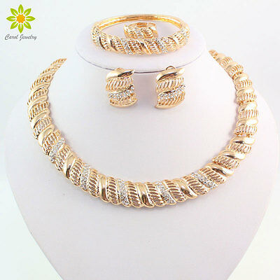 18K Gold Plated Statement Women Collar Necklace Wedding African Jewelry Sets