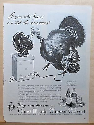 1944 magazine ad for Calvert Whiskey - real turkey vs. chocolate turkey