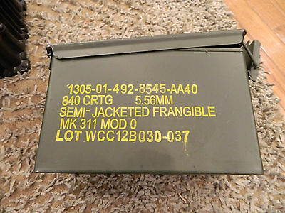M2A1 ammo can stenciled for 5.56 FRANGIBLE rounds.  RARE.  50cal 50 cal army box