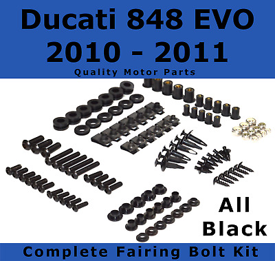 Complete Black Fairing Bolt Kit body screws for Ducati 848 EVO 2010 - 2011