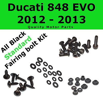 Black Fairing Bolt Kit body screws fasteners for Ducati 848 EVO 2012 - 2013 1198