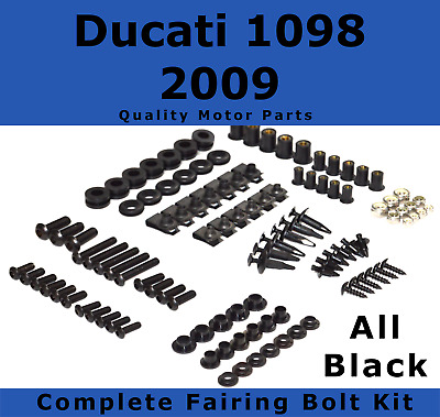 Complete Black Fairing Bolt Kit body screws fasteners for Ducati 1098 2009