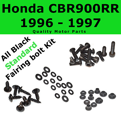 Black Fairing Bolt Kit body screws fasteners for Honda CBR 900 RR 1996 - 1997